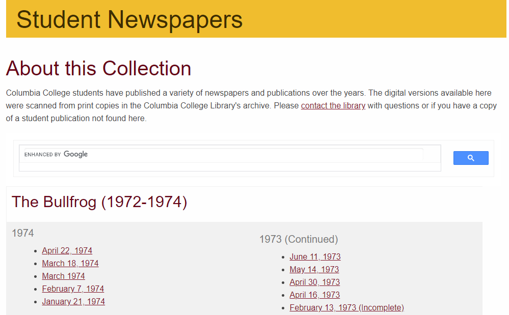 screenshot of Columbia College Library's student newspapers webpage