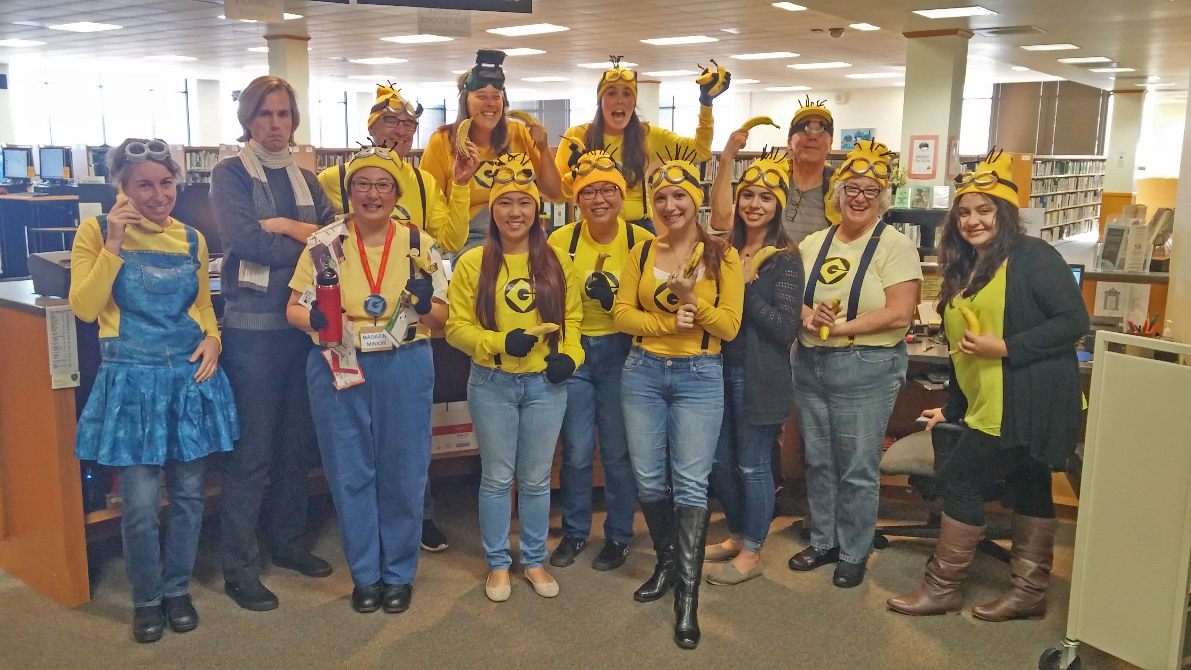 Dressing as Minions and Gru from movies. The team costume idea was suggested by the staff member wearing Minion scarf.  sc 1 st  Council of Chief Librarians & Skyline College | Council of Chief Librarians - California Community ...