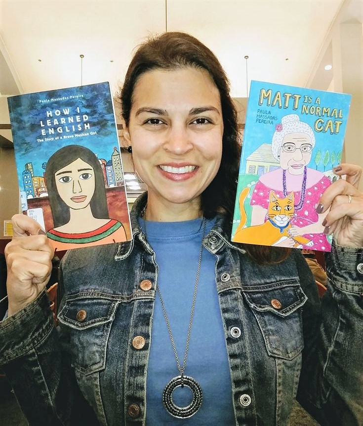 Author Paula Pereira with her two books